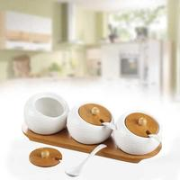 Porcelain Condiment Pot Container Spice Jar With Bamboo Cover Ceramic Serving Spoon Wooden Tray Best Pottery Cruet Pot