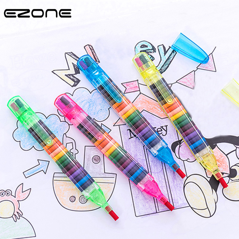 EZONE 1PCS 20 Colors Oil Paint Pen Colorful Pencils Drawing Cratons Stacker Pencil Art Painting Gift For Children Kids Oil Paint