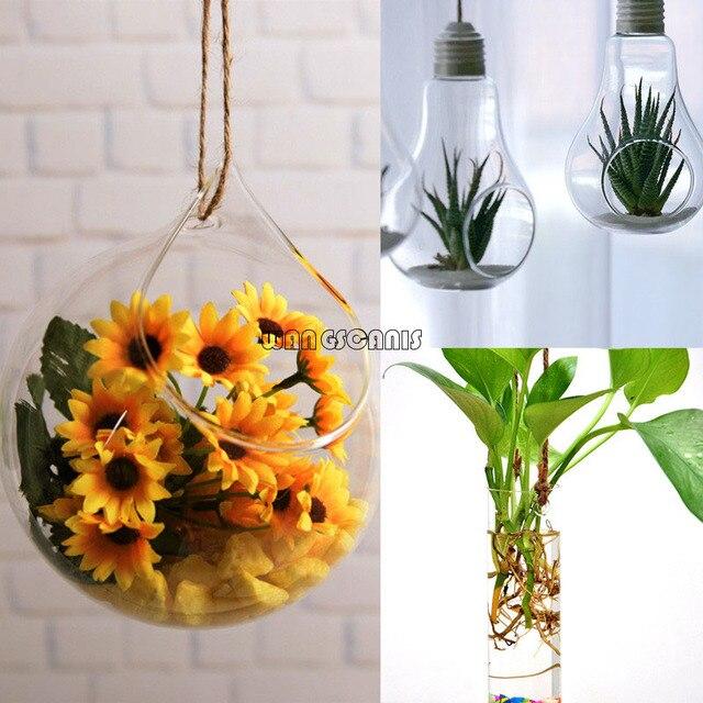 1X זכוכית תליית צמח פרח אגרטל דגי סיר קיר כדור מיכל חממה אספקת גן
