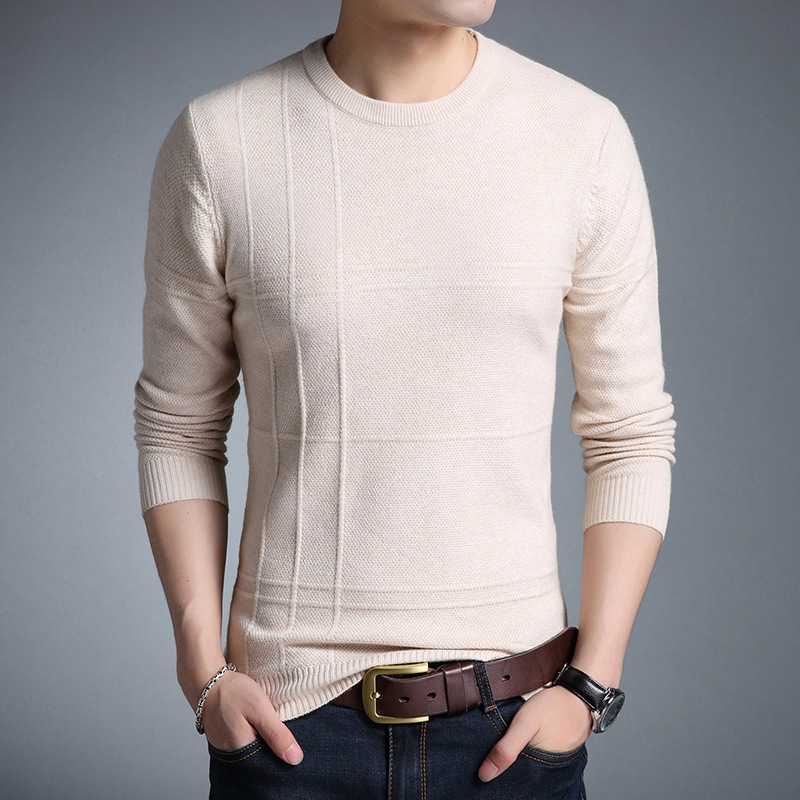 #1329 Autumn Slim Round Neck Men's Sweater Solid Color Basic High Quality Fashion Sweater Pullover Men Clothes Pull Homme M-XXL
