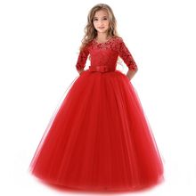 2018 New Teenage Girl Princess Lace Solid Dress Kids Flower Embroidery Dresses For Girls Children Prom Party Wear Red Ball Gown 2019 lace embroidery dress kids dresses for girl princess autumn winter party ball gown children clothing wear dress for girls