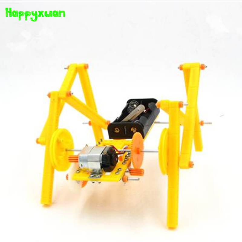 Happyxuan DIY Crawling Machine Dog Assembled Kits Model Technology Experiment Science Toys Children Games