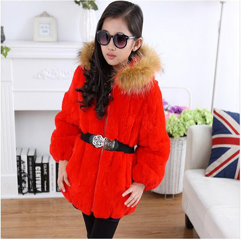 New Children Rabbit Fur Coat Autumn Winter Warm Thick Outwear Coat Raccoon fur Collar Hat baby Long Section coay Clothes new russia fur hat winter boy girl real rex rabbit fur hat children warm kids fur hat women ear bunny fur hat cap