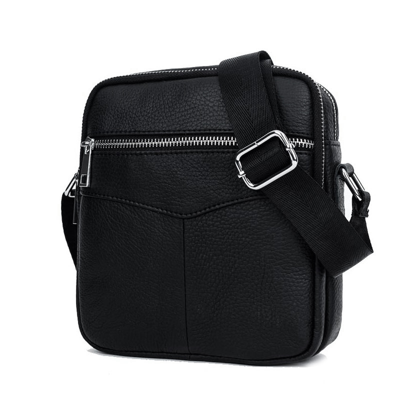 BULLCAPTAIN Fashion Genuine Leather Shoulder Bag Men Causal Crossbody Bags Small Brand Double Zipper Male Messenger Bags