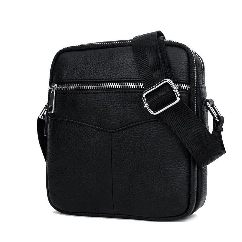 BULLCAPTAIN Fashion Genuine Leather Shoulder bag men causal Crossbody Bags Small Brand double Zipper Male Messenger Bags