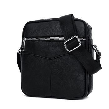 BULLCAPTAIN Fashion Genuine Leather Shoulder bag men causal Crossbody Bags Small Brand double Zipper Male Messenger