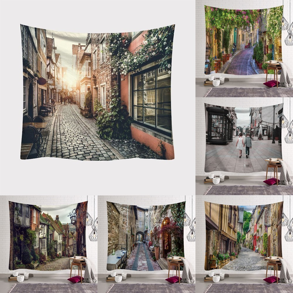 230X180cm Small Town Tapestry Carpet Rugs Camping Tent Travel Mattress Beach Towel Hippie Tapestries Fashion Decorative image