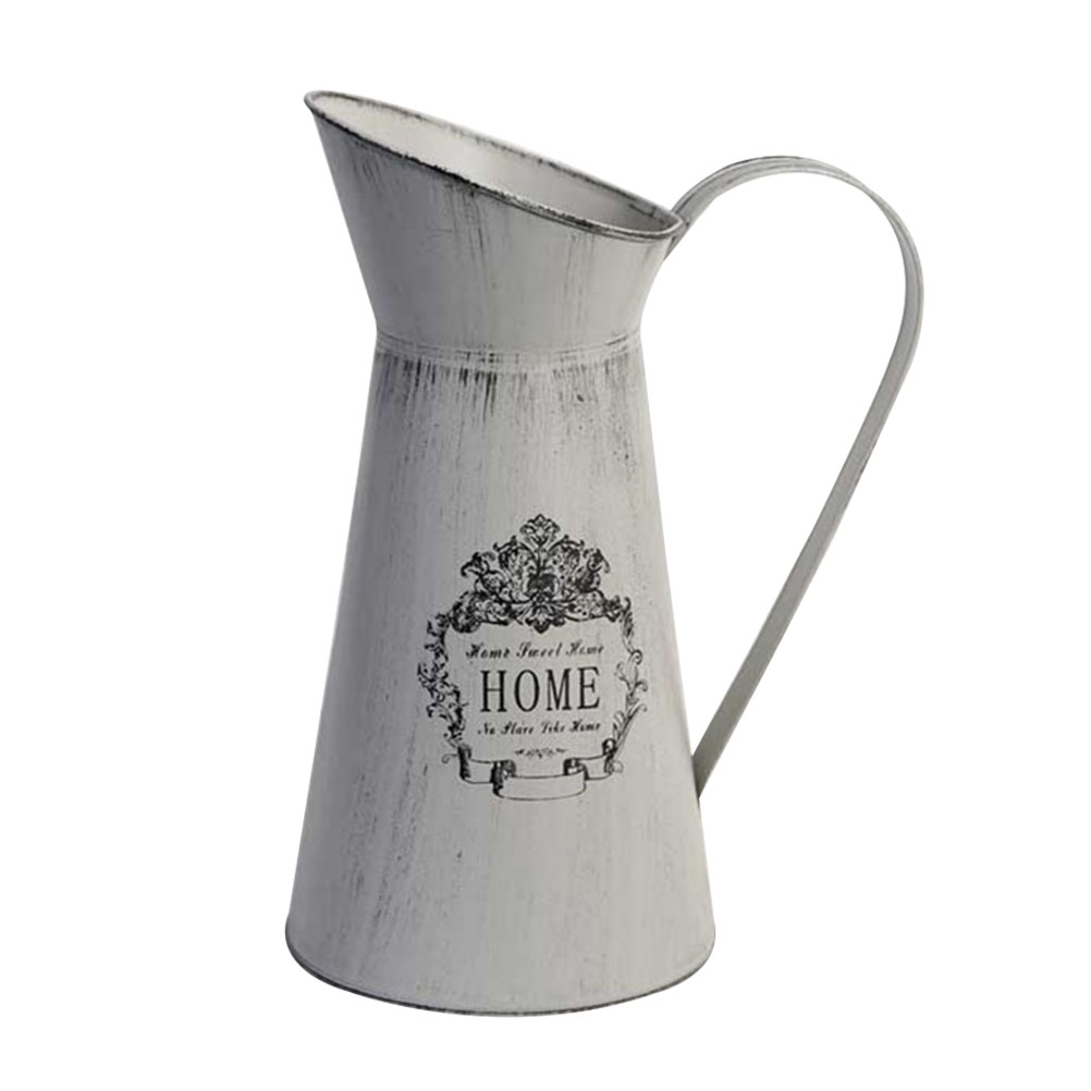 1Pc Creative Shabby Rustic Style Chic Iron Metal Pitcher Flower Vase Can Jug Portable for Wedding Party Decoration Home|Flower Pots & Planters| |  - title=