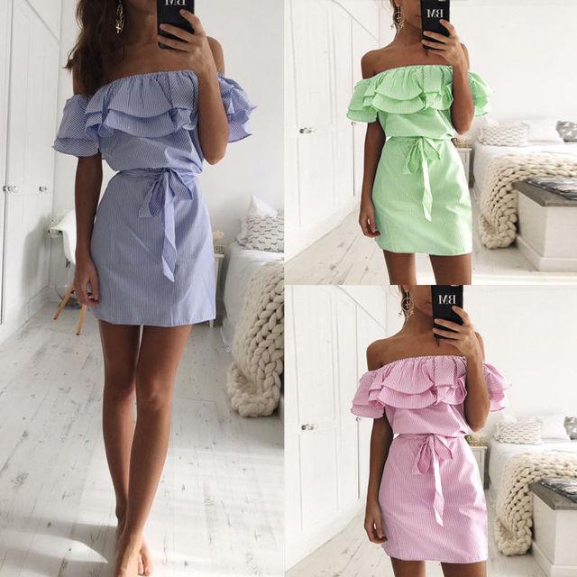 Off Shoulder Strapless Striped Ruffles Dress Women 2018 Summer Sundresses Beach Casual Shirt Short Mini Party Dresses Robe Femme 5
