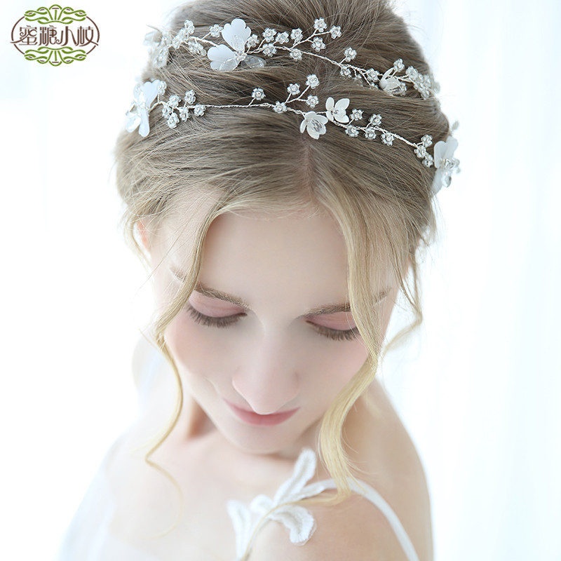 Long Crystal Tiara Metal Flower Headband Pearl Wedding Hair Accessories Bridal Hair Jewelry Ornaments Headpiece Hair Vine D2244