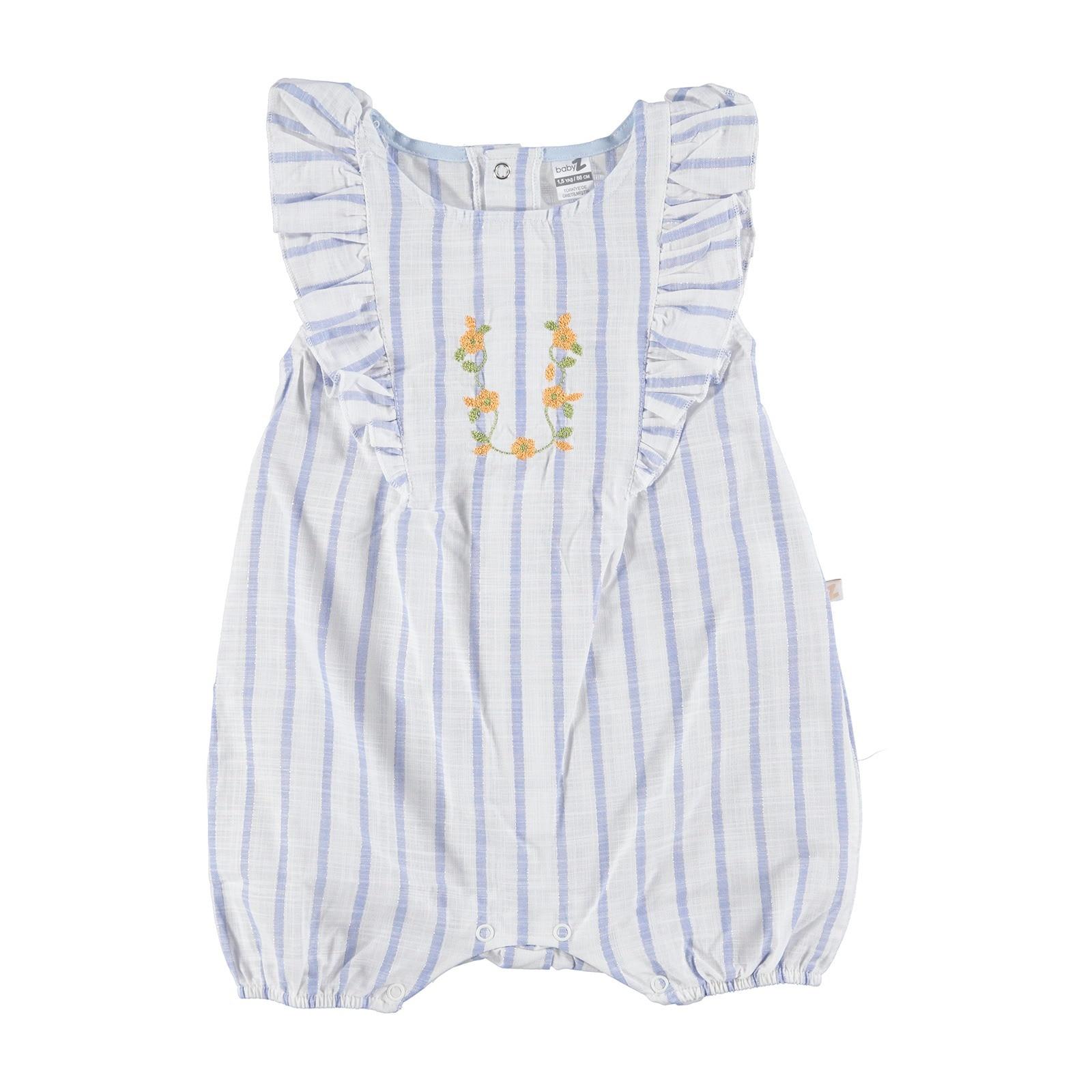 Ebebek BabyZ Star Embroidered Texture Baby Girl Short Romper