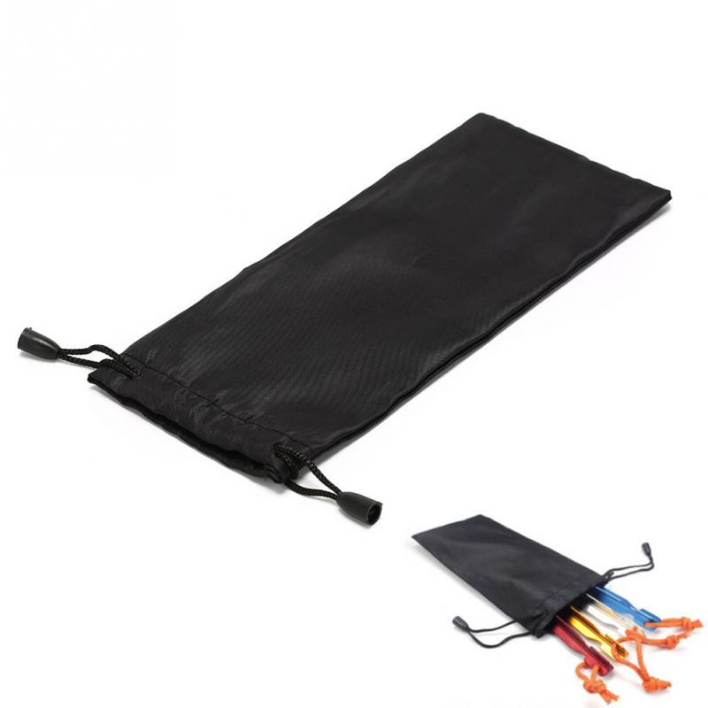 Outdoor Camping Awning Tent Pegs Storage Bag with Drawstring Black