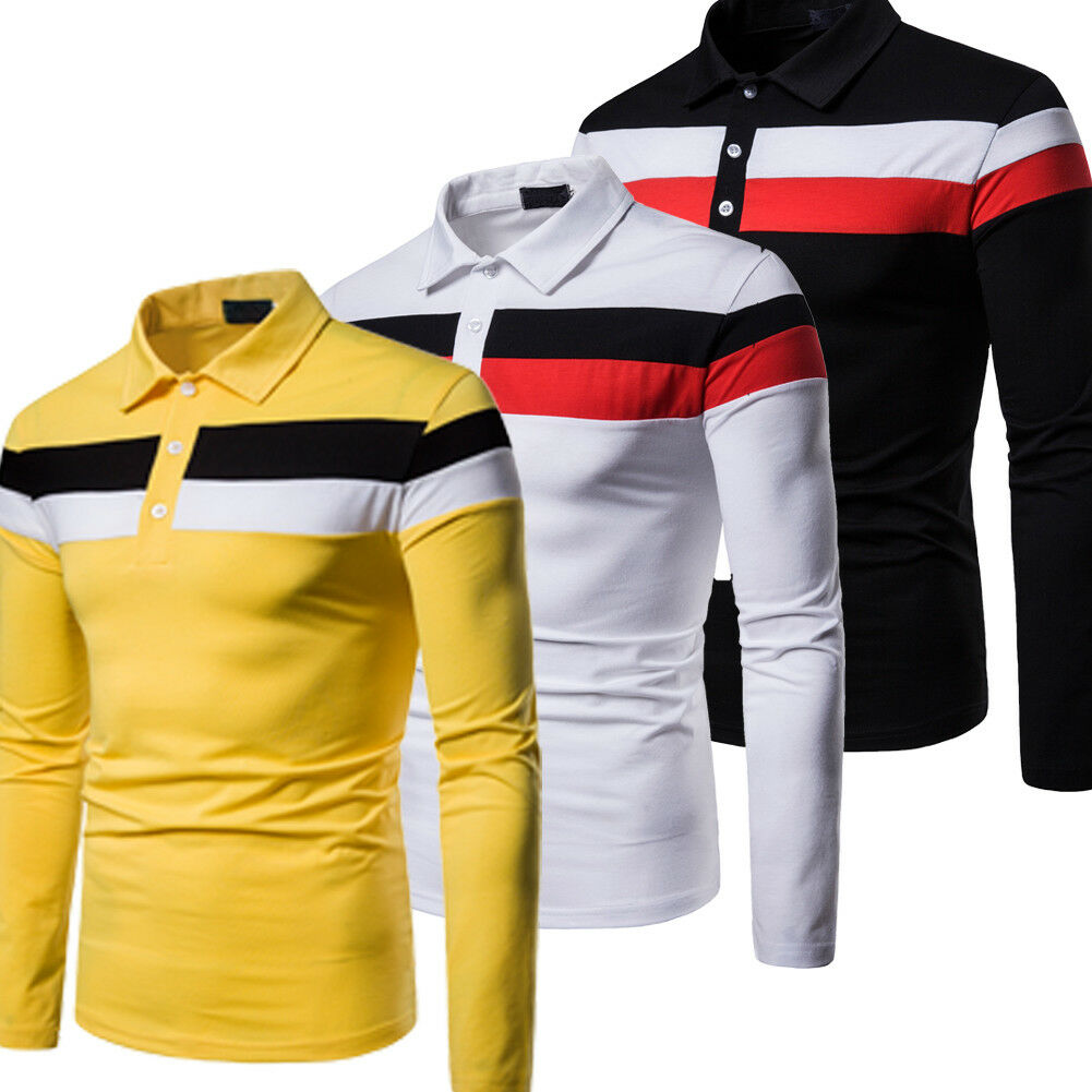 2019 New Style Hot Fashion Men's Plain Cotton Button Patchwork Long Sleeve Pullover Casual Shirts Top