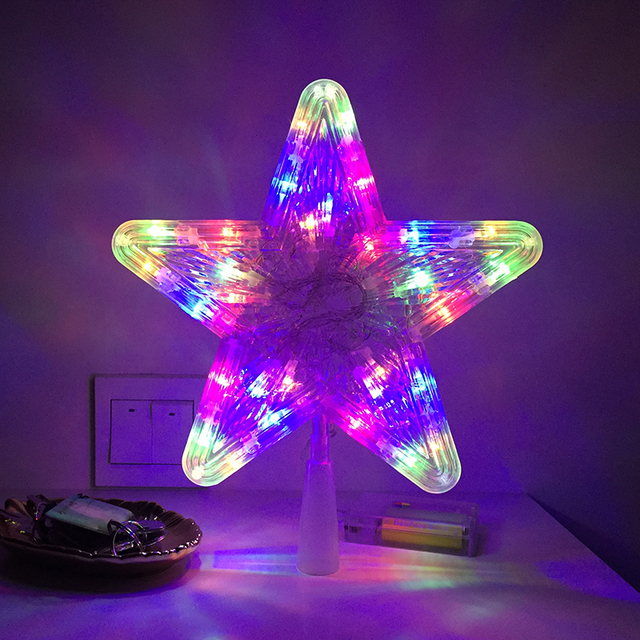 Christmas Tree Top Star Festival Lighting Decoration Led Holiday Party Lights 3aa Batteries Operated Xmas Light Decor