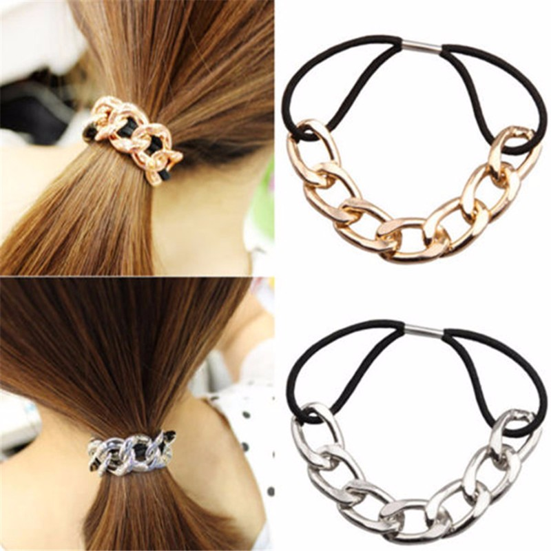 Korean Hair Accessories Hair Tie Scrunchy Metal Chain boho turban Headband   Headwear   Rubber Bands Women Girls Elastic hairband