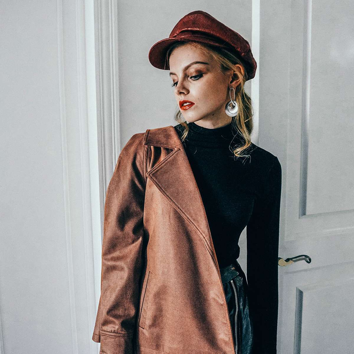 Clothes 2018 Vintage Faux Outwear Women Sleeve Jacket Basic Winter Coat Belted Long Brown Solid Slim Suede Leather Short xw4pgTU
