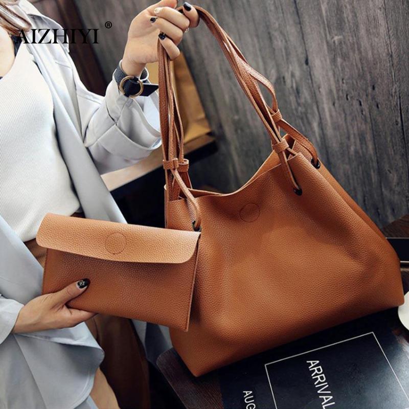 2pcs/set Women Handbag Big Capacity PU Leather Clutch Women Girls Sling Bag Female Shoulder Top-handle Bags Bolsa Feminina New