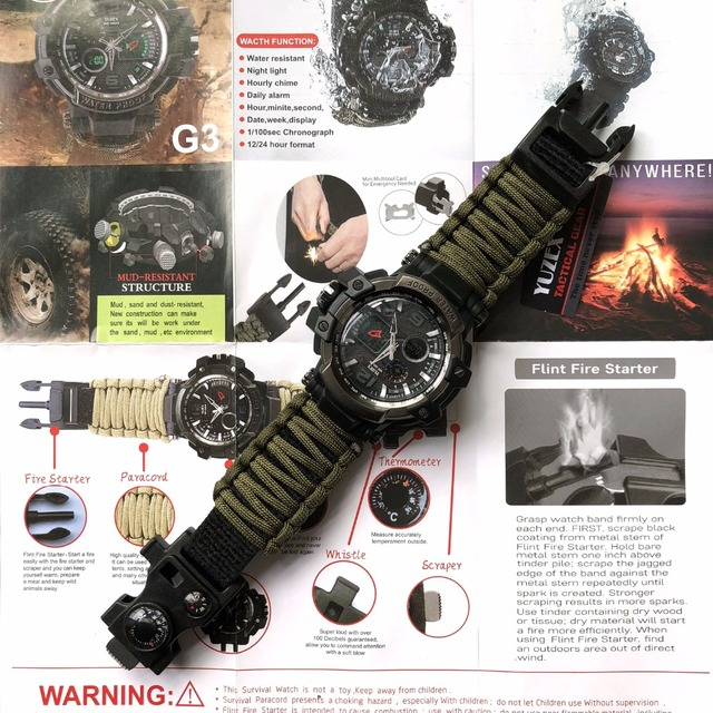 EDC Survival Watch Waterproof 50M For Men, Women, Camping, Hiking, Military, Tactical Gear, Outdoor Camping tools