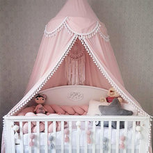 Kids Baby Bedroom Mosquito Net Canopy Fringed Lace Decor For Princess Bed Girls Room Decor Bed Canopy Pest Control Reject Net(China)