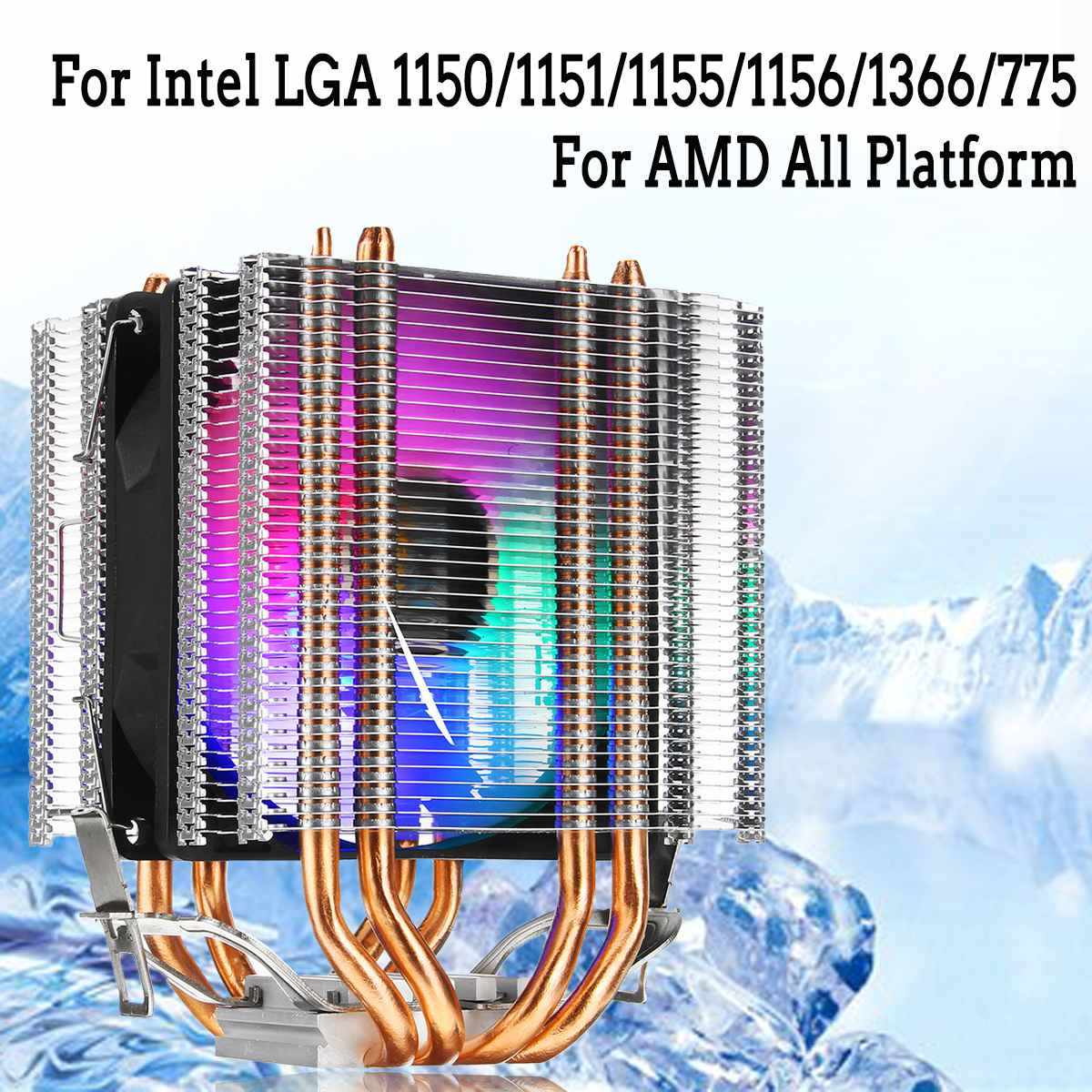 for Intel LAG 1155 1156 775 for AMD Socket AM3/AM2 RGB LED CPU Cooler Fan 4  Heatpipe Dual Tower 12V