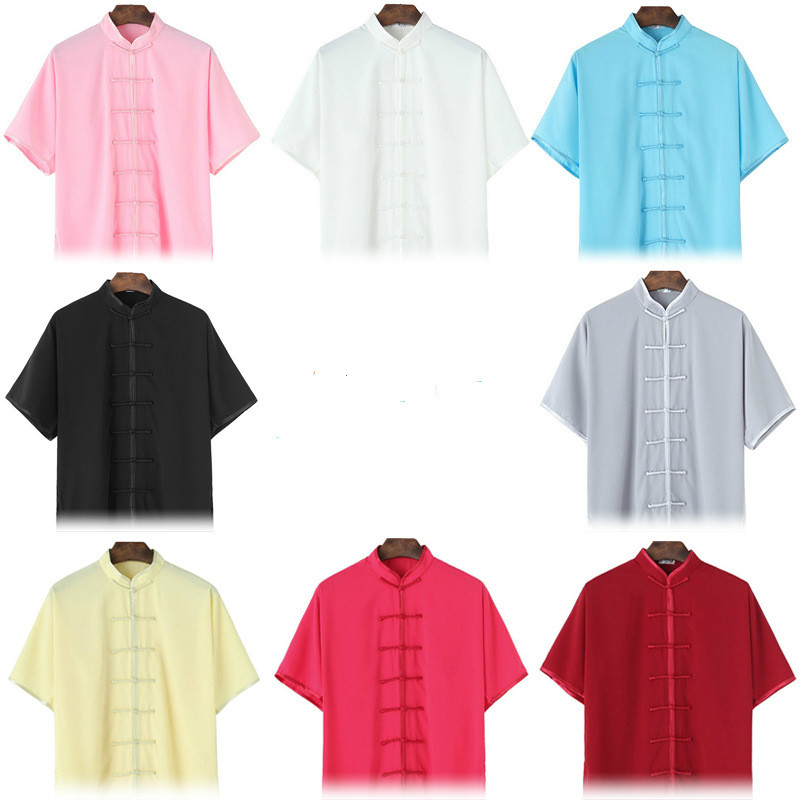 Summer Short Sleeve Hang Down Chinese Traditional Tai Chi Uniforms Kung Fu Clothing Martial Art  Wear Unisex  8 Colors