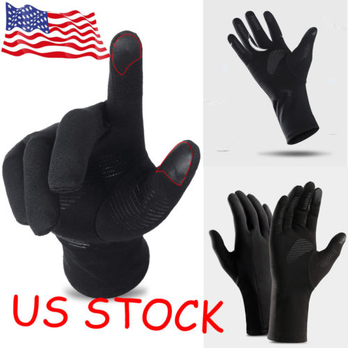 Mens Gents Hot Stuff Thermal Winter Warm Fleece Gloves With Strap Black
