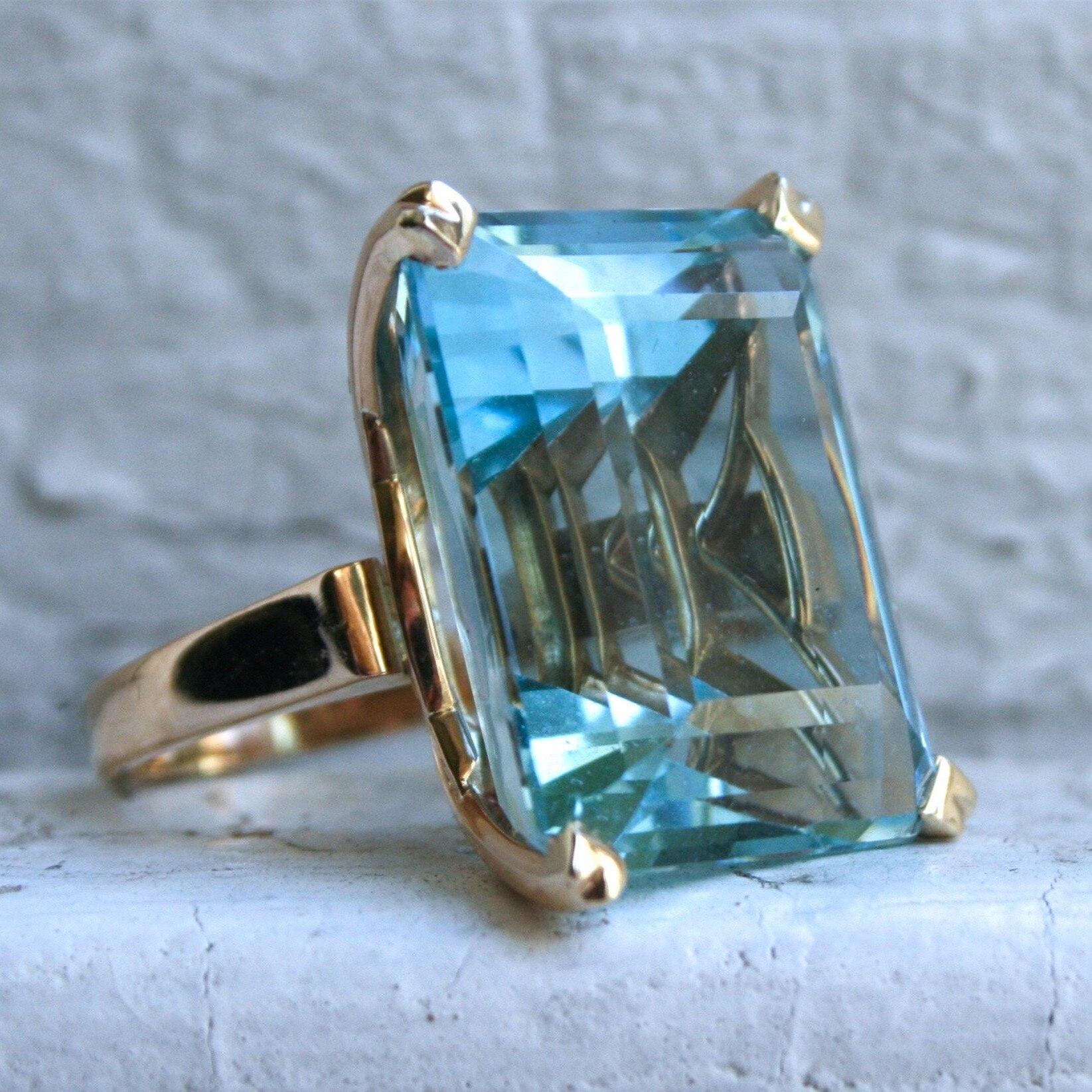 Sea Blue Topaz Stone Princess Diamond Ring Engagement Sapphire Ring 14K gold Anillos for women Bizuteria jade diamond jewelry