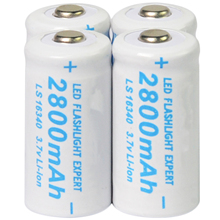 4x 3.7V CR123A 123A CR123 16340 2800mAh Rechargeable Battery Cell White COLOR