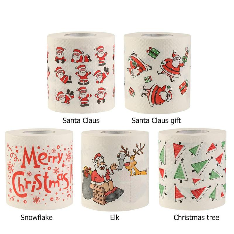 Toilet Paper Santa Claus Printed Toilet Paper Tissue Roll Christmas Decoration For Xmas Party Events Ornament Bathroom Supplies