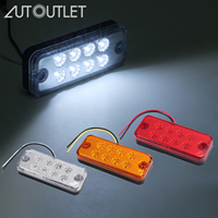AUTOUTLET 12Pcs 12V/24V LED Side Marker Lights Car External Lights Warning Tail Trailer Truck Lorry Lamps White/Yellow/Red
