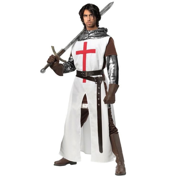 Cruzados adulto Europeu Medieval Guerreiro Cavaleiro Cosplay Traje de Halloween Para Os Homens
