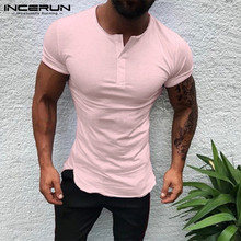 Stylish Plain Tee Tops Men T Shirt Short Sleeve Muscle Joggers Bodybuilding Male Clothes Slim Fit White Pink Henley 3XL