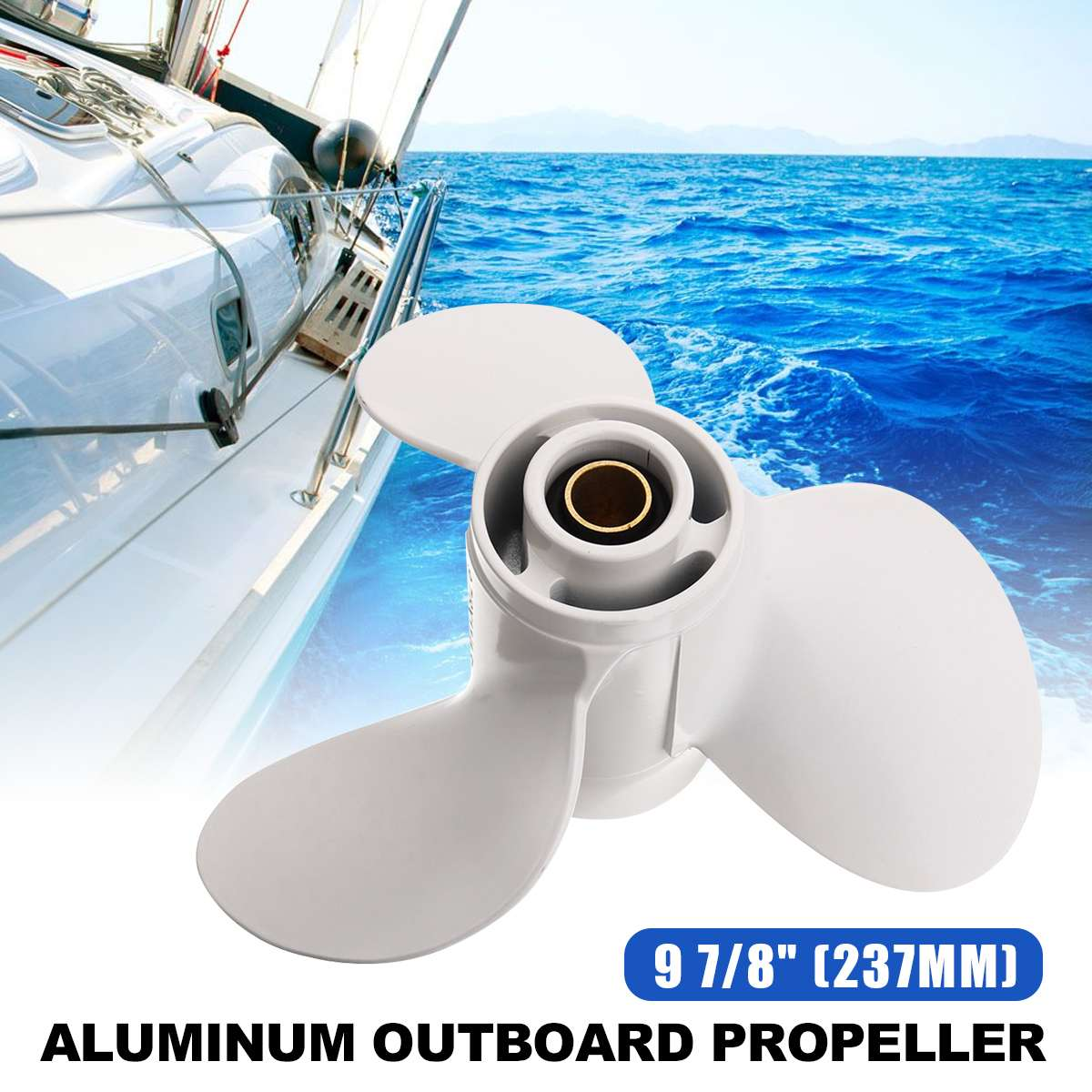 664-45947-01-EL 9 7/8 X 11 1/4 Aluminium Alloy Boat Outboard Propeller For Yamaha 20-30HP White 10 Spline Tooth 3 Blades