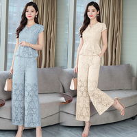 2019 Summer female fashion lace V neck tops +lace wide legged pants suits women's vintage lace blouse two piece sets