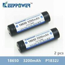 2 adet KeepPower 3200mAh 18650 korumalı li ion şarj edilebilir pil 3.7V P1832J drop shipping orijinal