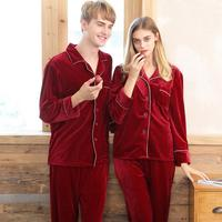 2PCS Velvet Solid Color Couple Pajamas Autumn And Winter Home Suit Comfortable Warm Pajama Sets Home Suit