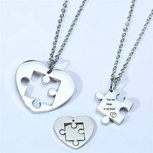 Autism Puzzle Piece Heart Necklace In Silver Color Hand Coin Women Men Neckalce Personalized Friendship Couples Jewelry(China)