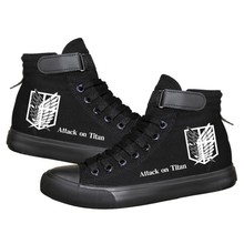 Anime Cosplay Attack On Titan Eren Jaeger Lovers Casual Canvas Black Lace Up Shoes Plimsolls Unisex faux pearl slip on plimsolls
