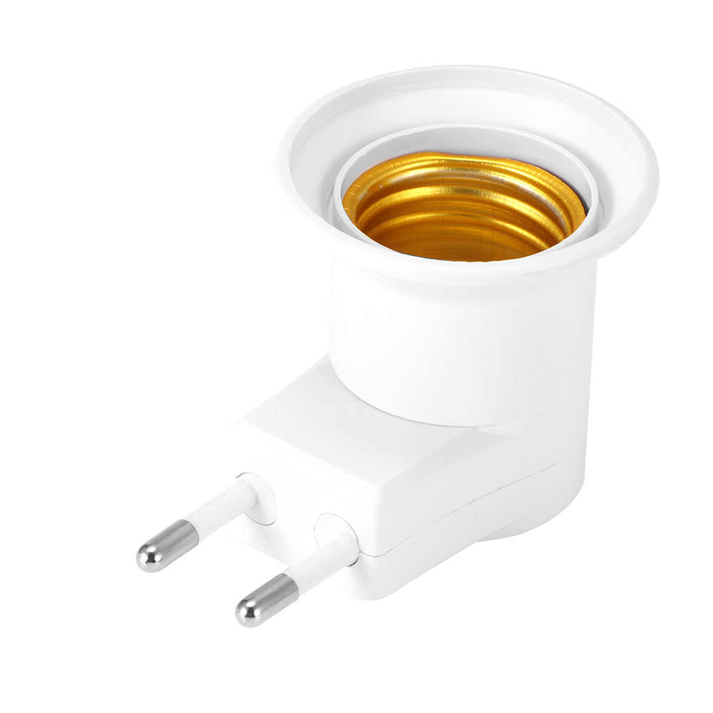 1PC Hot Sell Practical White E27 LED Light Socket To EU Plug Holder Adapter Converter ON/OFF For Bulb Lamp