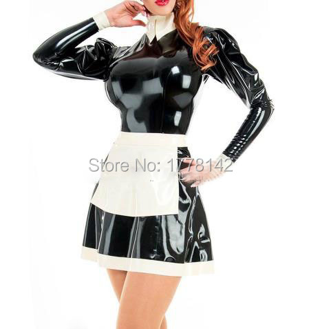 Black With White Apron Sexy Maid Latex Dress With Zipper At Back Rubber Uniform Bodycon Playsuit