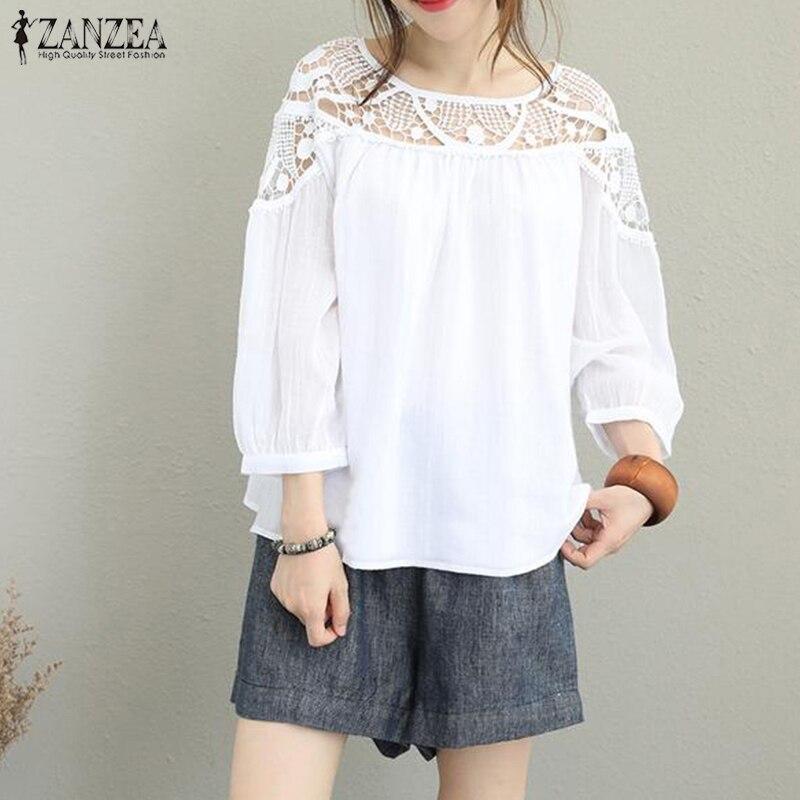 2019 Spring Women Blouse ZANZEA Lace Crochet Tops Shirt Ladies Solid Loose Blusas Hollow Out Sholder Blusa Feminina Plus Size