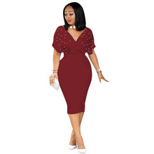 Summer V Neck Tunic Sexy Dress Women High Waist Beading Short Sleeve Bodycon Dress Plus Size Club Midi Party Dress недорого
