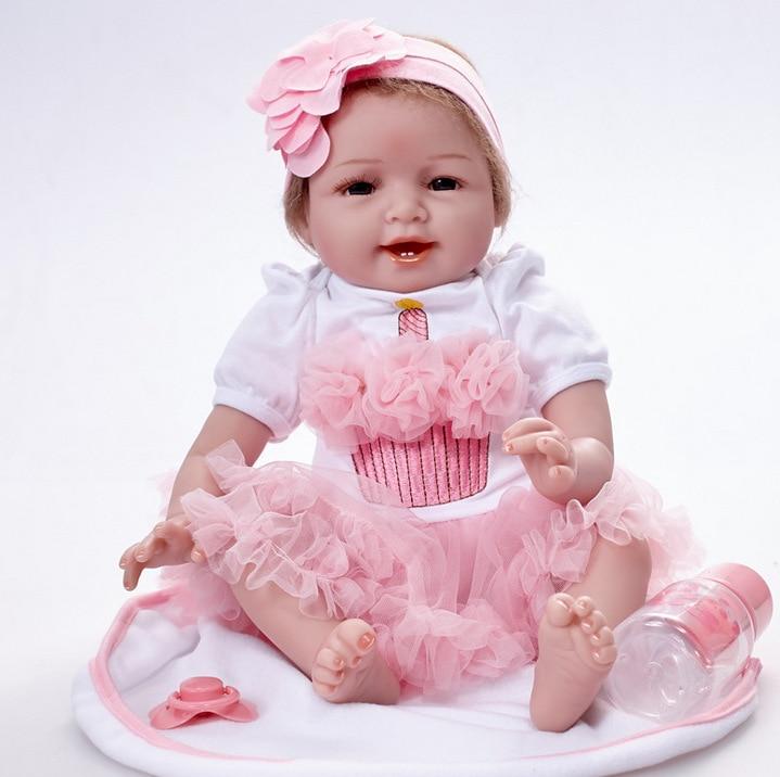 Réaliste bébé vivant fille poupée doux Silicone vinyle rembourré Reborn poupée mignon jouet bambin cadeau d'anniversaire coucher de soleil jouer 55 cm