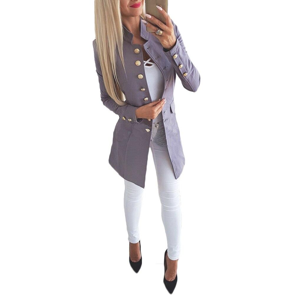 Women Single One Button Autumn 2018 Slim Women Long Blazer Red Gray Black Blue Blazer Feminino Underwear Women Plus Size