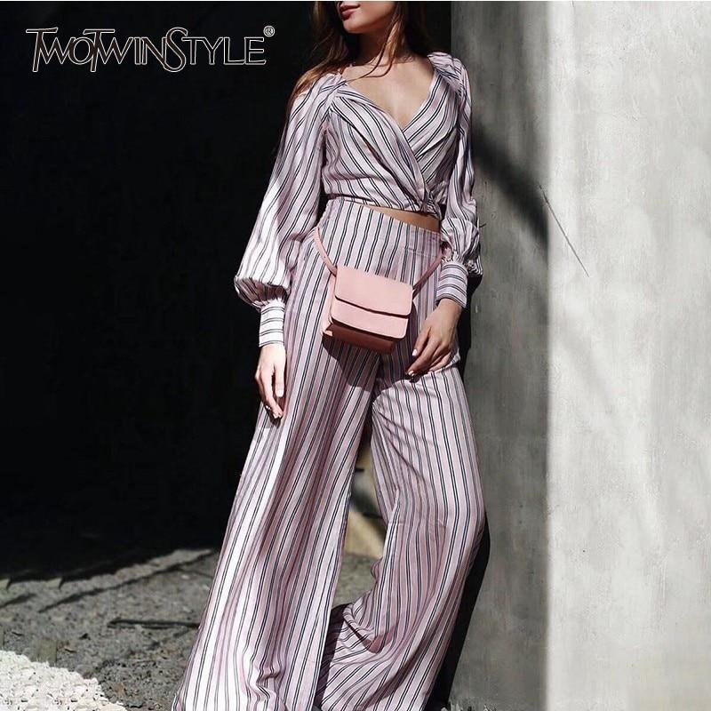 TWOTWINSTYLE Striped Women Suit Lantern Long Sleeve V Neck Bandage Crop Tops High Waist Wide Leg