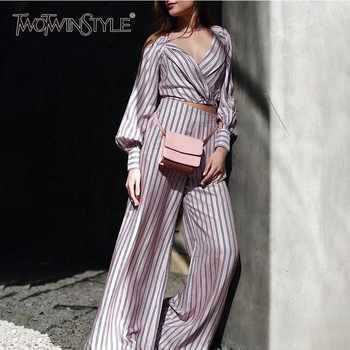 TWOTWINSTYLE Striped Women Suit Lantern Long Sleeve V Neck Bandage Crop Tops High Waist Wide Leg Pants Two Piece Set 2019 Autumn - DISCOUNT ITEM  44% OFF All Category