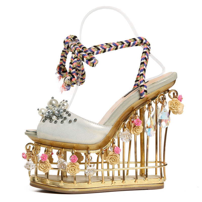 Luxurious Expensive Platform Sandals for Women 15 CM Super High Heel Wedges Peep-toe Woman Wedding Pumps Box Packing Y568Luxurious Expensive Platform Sandals for Women 15 CM Super High Heel Wedges Peep-toe Woman Wedding Pumps Box Packing Y568