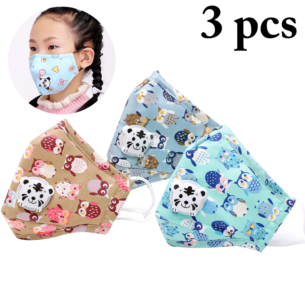 3PCS Cotton Dustproof Mouth Face Mask Anime Cartoon Cute Kids Children Women Men Breathing Muffle Face Mouth Masks