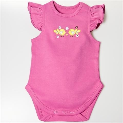 Little Ashkim BGSRCBS69 Ruffle Sleeves Bodysuit – Pink 6-9 months