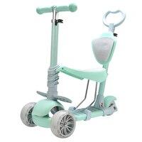 Новый 5 в 1 двойной режим скутер с тремя колесами для детей сидеть ездить с светоизлучающих алюминиевый сплав дети скутер